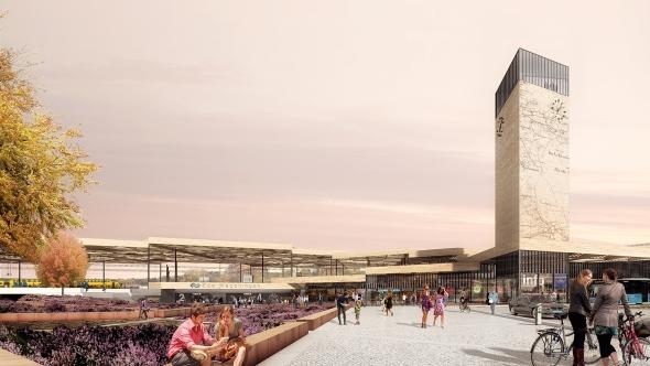 Impressie van het nieuwe Station Ede-Wageningen - Beeld Mecanoo - 2